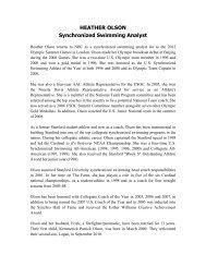 HEATHER OLSON Synchronized Swimming Analyst