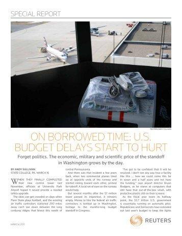 on borrowed time: u.s. budget delays start to hurt - Thomson Reuters
