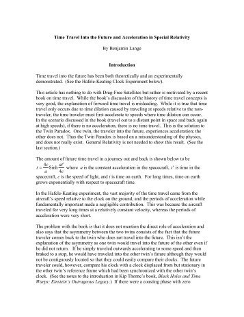 Special Relativity and Time Travel - Experimental Gravitational ...