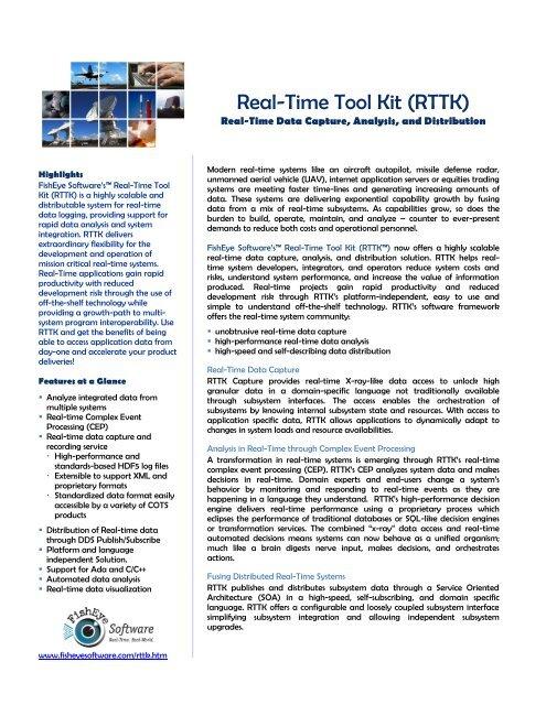 Real-Time Tool Kit (RTTK) - FishEye Software