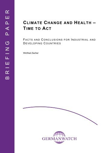 Briefing Paper: Climate Change and Health – Time to Act