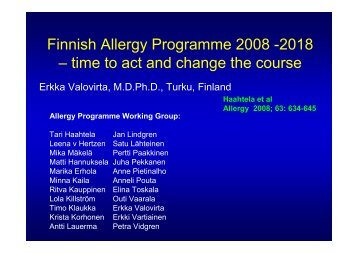 Finnish Allergy Programme 2008 -2018 – time to act and change the ...