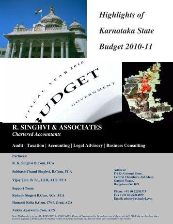 KARNATAKA BUDGET 2010 11 EBOOK