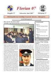 Florian 07 Ausgabe 23 Schwerin, Juni 2007 Jahrgang 12