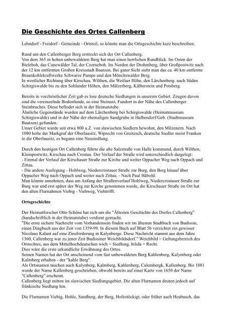 Die Geschichte des Ortes Callenberg - Crostau