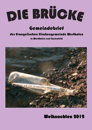 Gemeindebrief Weihnachten 2012 - evangelische kirchengemeinde ...