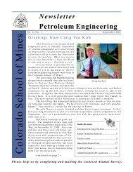 2001 Alumni Newsletter - petroleum engineering colorado school of ...