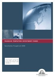 vereinfachten Verkaufsprospektes - Franklin Templeton Investments