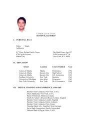 CURRICULUM VITAE RAMON K. ILUSORIO I. PERSONAL DATA ...