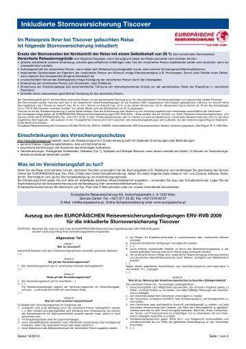Inkludierte Stornoversicherung Tiscover - Europäische ...