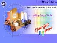 Corporate Presentation, March 2011 - Shalimar Paints