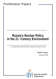 Russia's Nuclear Policy in the 21st Century Environment Dmitri ... - Ifri
