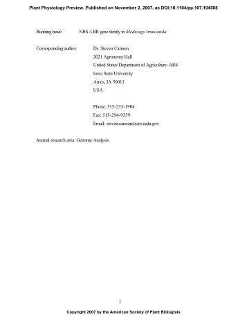 NBS-LRR gene family in Medicago truncatula ... - Plant Physiology
