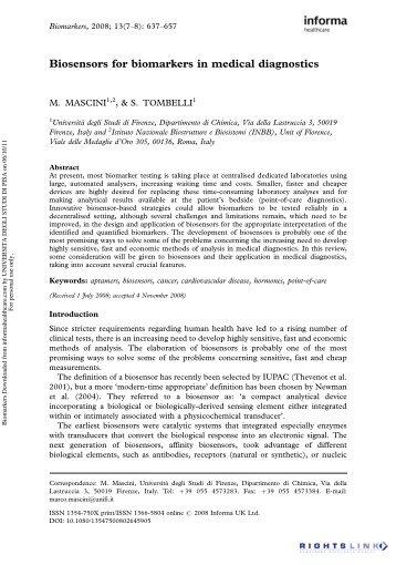 Biosensors for biomarkers in medical diagnostics