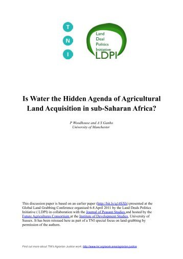 Is Water the Hidden Agenda of Agricultural Land Acquisition in sub ...