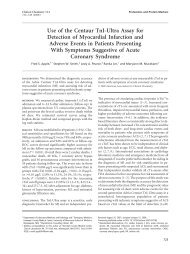 Use of the Centaur TnI-Ultra Assay for Detection ... - Clinical Chemistry