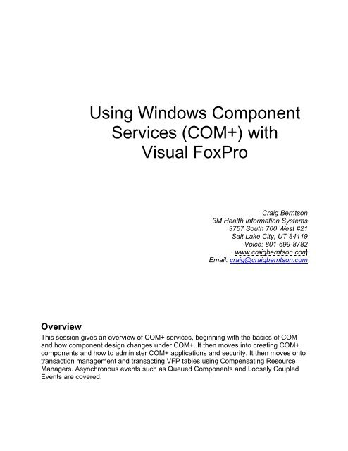 COM+) with Visual FoxPro - Craig Berntson