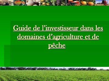 Guide de l'investisseur dans les domaines d'agriculture et de pêche
