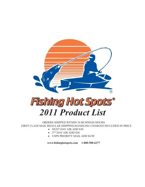 2011 Product List - Fishing Hot Spots Maps