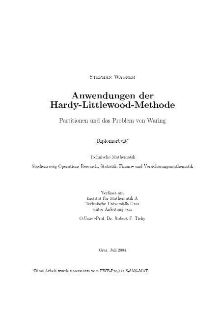S¡e¥§an a ner Anwendungen der Hard7-Aittlewood-Tethode ...