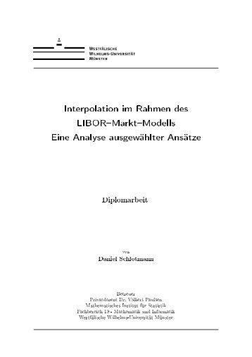 Interpolation im Rahmen des LIBOR Markt Modells Eine Analyse ...