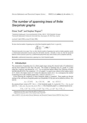 The number of spanning trees of finite Sierpi´nski graphs - Institut für ...