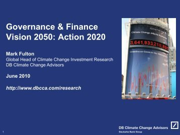 Governance & Finance Vision 2050: Action 2020 - Smith School of ...