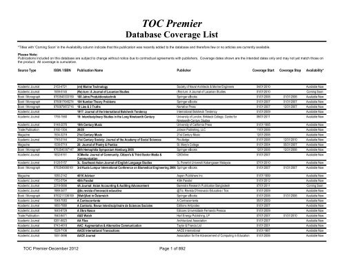 TOC Premier Database Coverage List - EBSCO Publishing