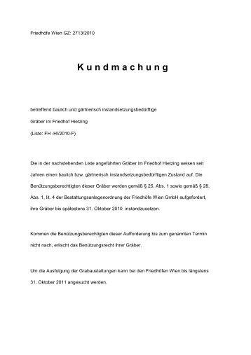 Hi kundmachung - Friedhöfe Wien