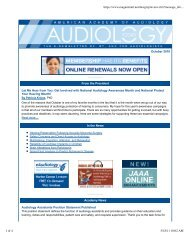 October 2010 - American Academy of Audiology