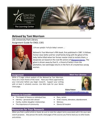 """a paper on the importance of community in toni morrisons beloved Below you will find five outstanding thesis statements for """"sula"""" by toni morrison an excellent paper about the nature and importance of community."""