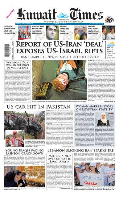 REPORt OF US-IRAN 'dEAl' - Kuwait Times