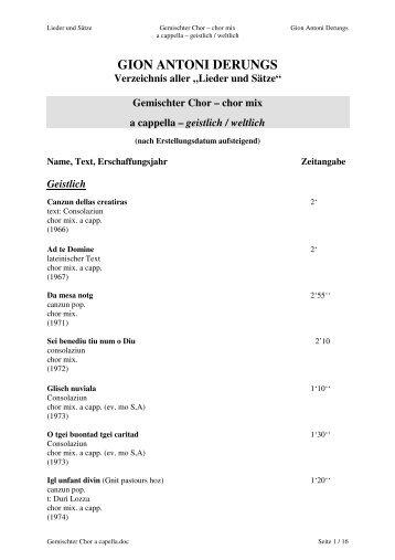 Gemischter Chor a capella - Gion Antoni Derungs