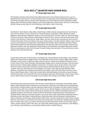2012-2013 1 QUARTER HIGH HONOR ROLL