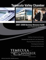 Letter from the President - Temecula Valley Chamber of Commerce