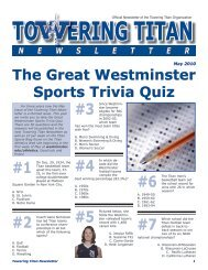 May issue of the Towering Titan Newsletter - Westminster College
