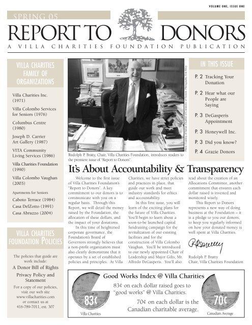Spring 2005 (Vol. 1 Issue 1) - Villa Charities