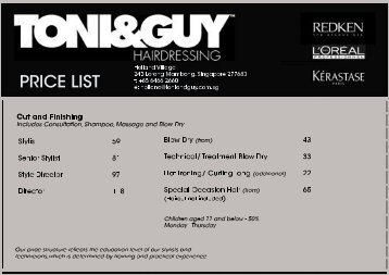 Astonishing Price List Toni Guy Hairdressing Hairstyles For Men Maxibearus