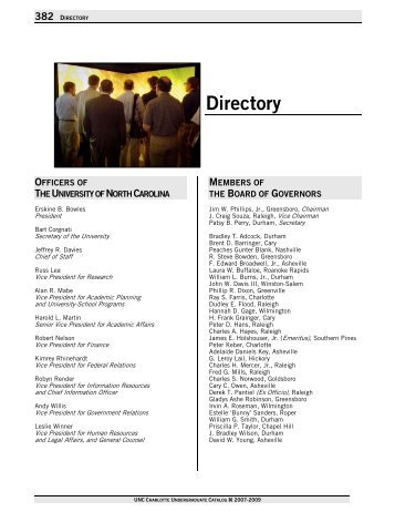 Directory - UNC Charlotte Course Catalogs - University of North ...