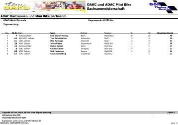OAKC und ADAC Mini Bike Sachsenmeisterschaft