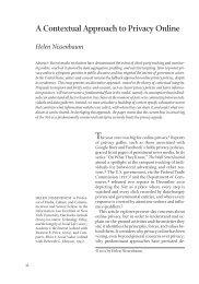 A Contextual Approach to Privacy Online Helen Nissenbaum