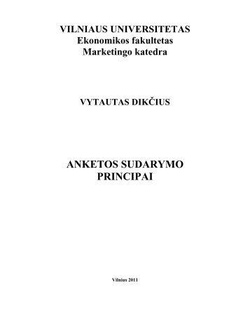anketos sudarymo principai - Ekonomikos Fakultetas - Vilniaus ...