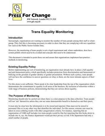 Trans Monitoring - Addressing lgbt health inequalities