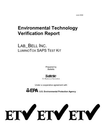 US EPA Environmental Technology Verification Report - Lab-Bell ...