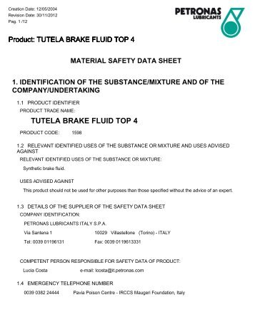 TUTELA BRAKE FLUID TOP 4 - ONION SpA