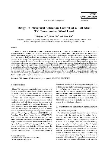 Design of Structural Vibration Control of a Tall Steel TV Tower under ...