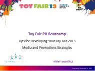 Toy Fair PR Bootcamp - Toy Industry Association, Inc.