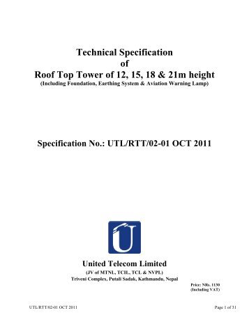 Technical Specification of Roof Top Tower of 12, 15, 18 & 21m height