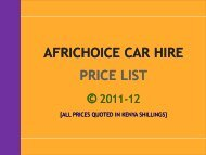 AFRICHOICE CAR HIRE PRICE LIST - AfriChoice Tours & Travel Ltd