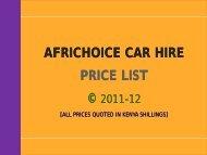 AFRICHOICE CAR HIRE PRICE LIST - AfriChoice Tours & Travel Ltd